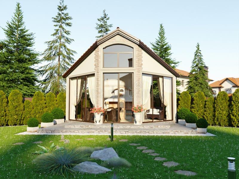 Casa de lujo de la familia del gazebo de la barbacoa ilustración del vector