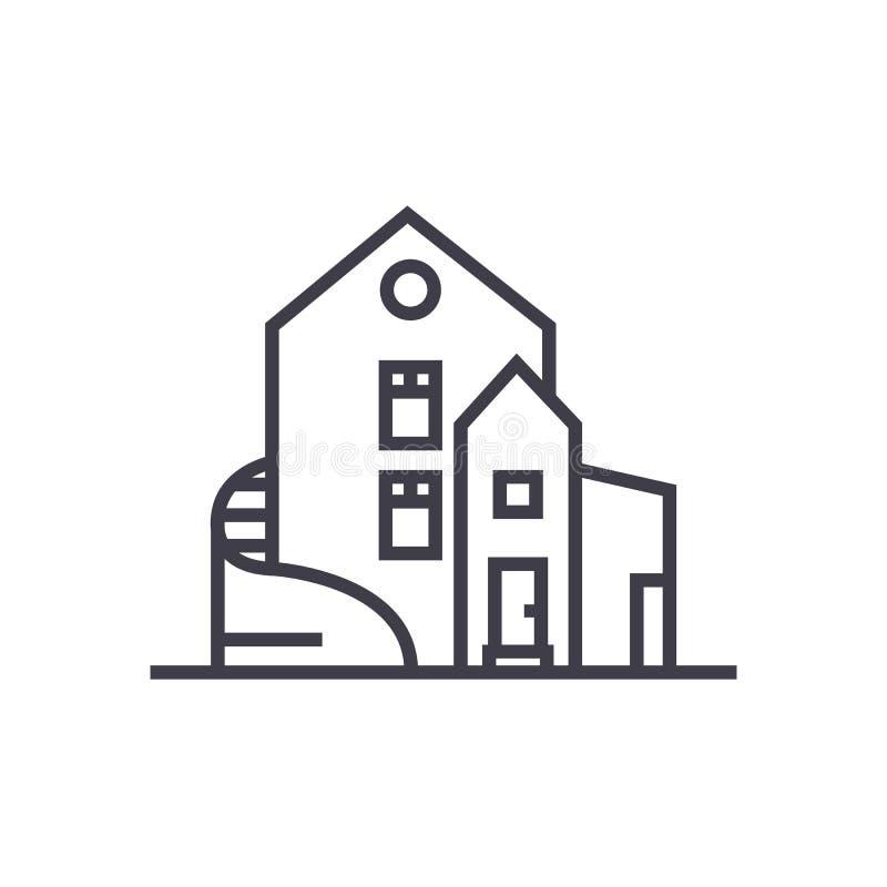 Casa de lujo, línea separada icono, muestra, ejemplo del vector de la mansión en el fondo, movimientos editable ilustración del vector