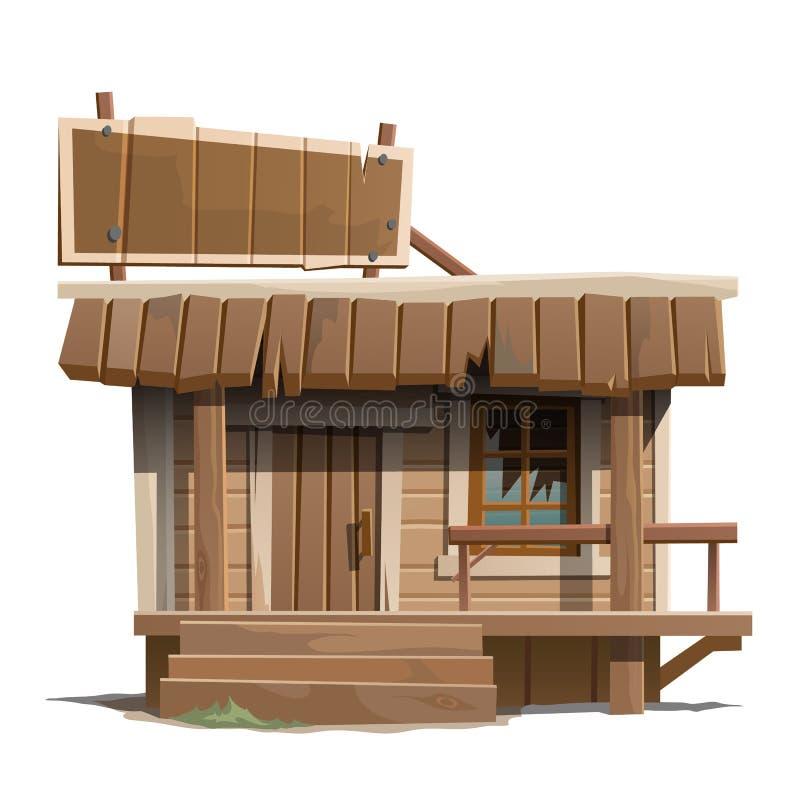 Casa de madeira abandonada velha com sinal ilustração stock