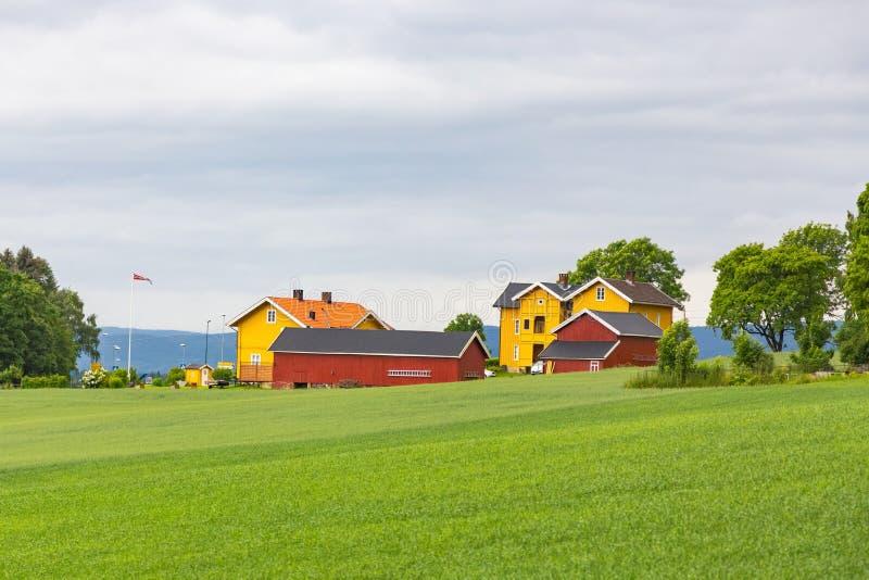 Casa de madeira colorida tradicional em Noruega fotos de stock royalty free