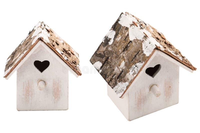 Casa de madeira do pássaro da decoração do Natal fotos de stock royalty free