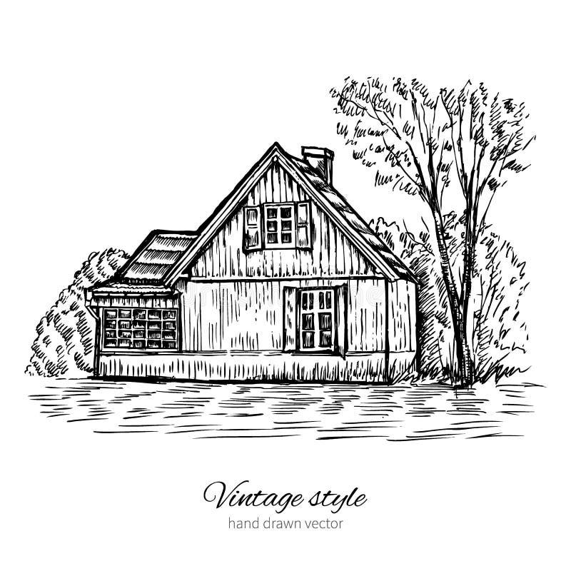 Casa de madeira europeia velha do esboço do vetor do vintage isolada na linha esboçado arte da construção branca, histórica ilustração do vetor