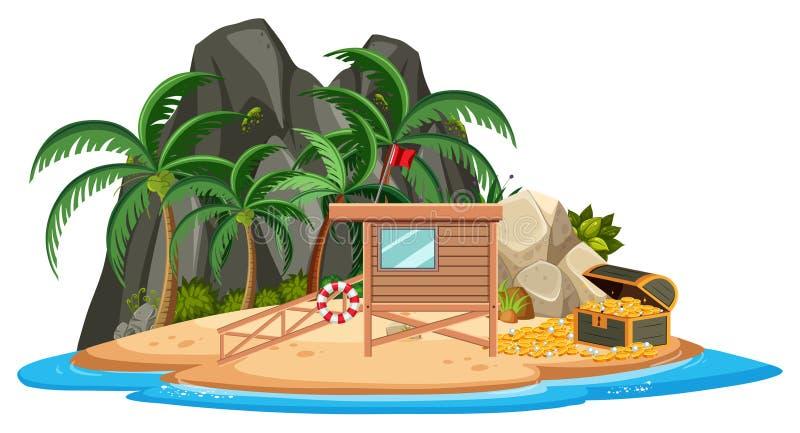 Casa de madeira na ilha ilustração do vetor