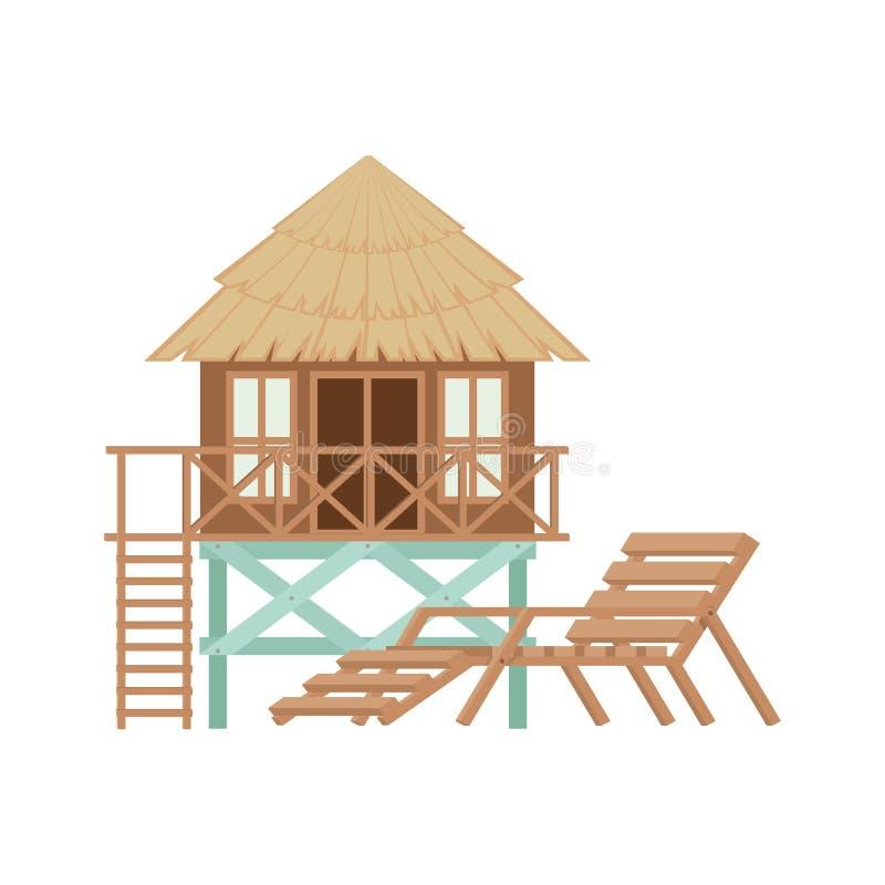 Casa de madeira na praia ilustração do vetor