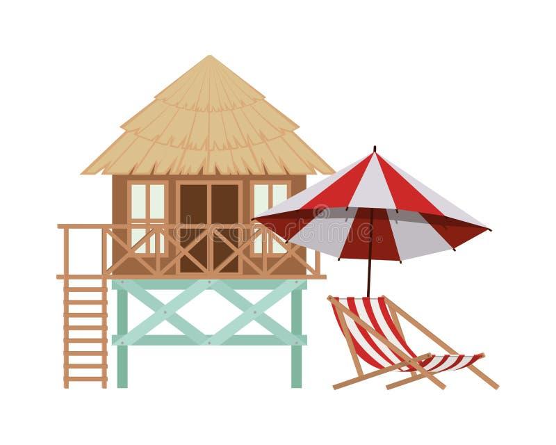 Casa de madeira na praia ilustração stock