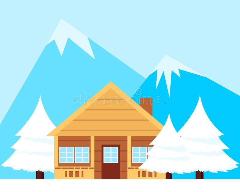 Casa de madeira nas montanhas ilustração do vetor