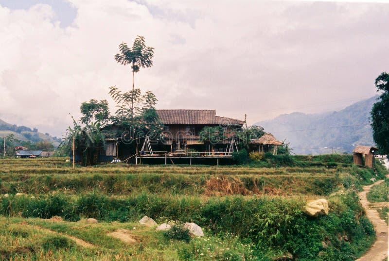 Casa de madeira - Ta Van, Sapa, Vietname fotos de stock royalty free