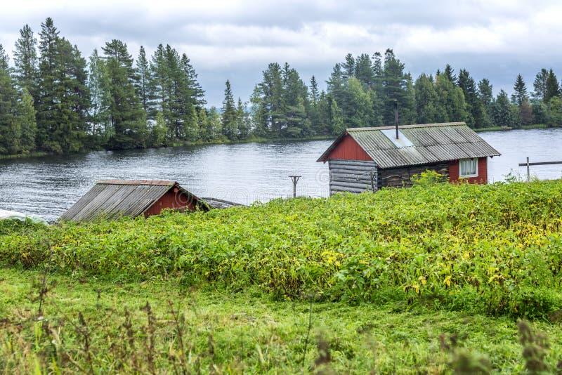 Casa de madeira velha pelo rio Paisagem bonita imagem de stock