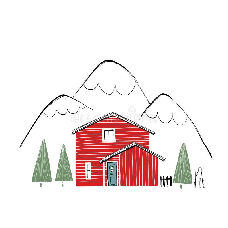 Casa de madeira vermelha na paisagem do inverno ilustração stock