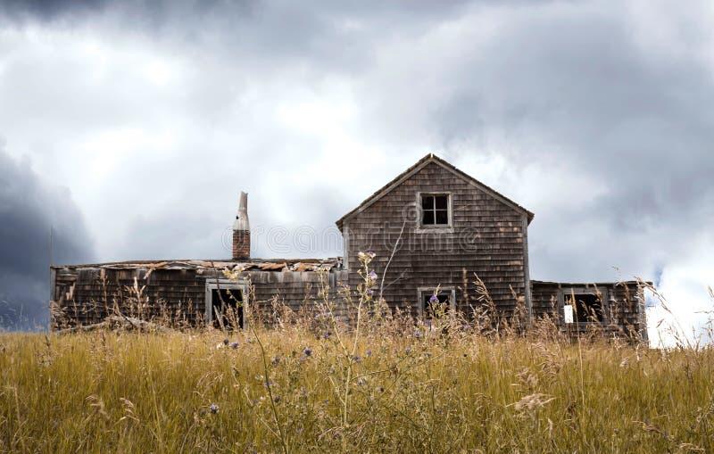 Casa de madera abandonada vieja pintoresca que se sienta en hierba alta imágenes de archivo libres de regalías