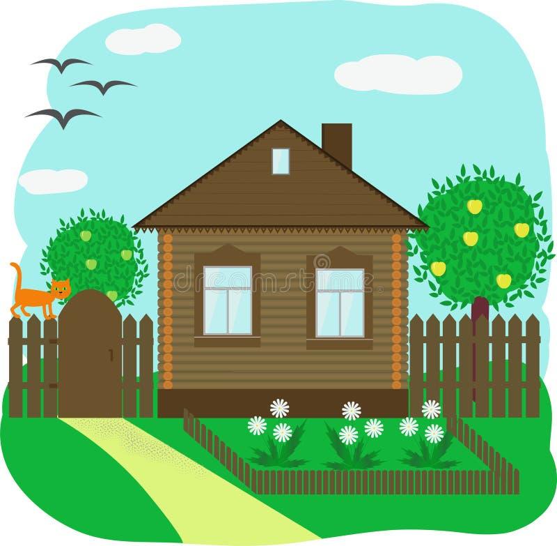 Casa de madera con un manzano y un jardín delantero stock de ilustración