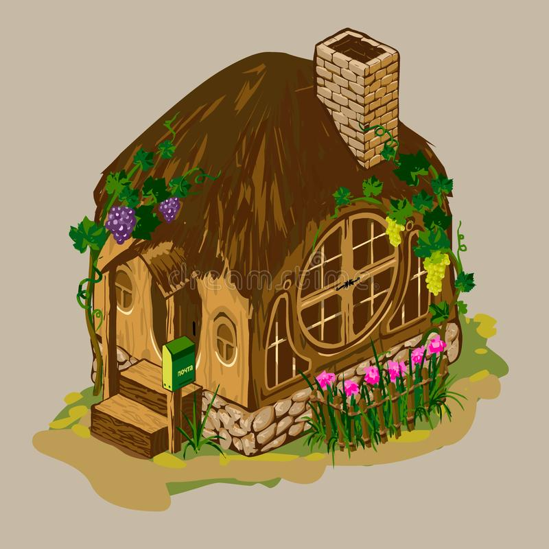 Casa de madera con una chimenea del ladrillo ilustración del vector