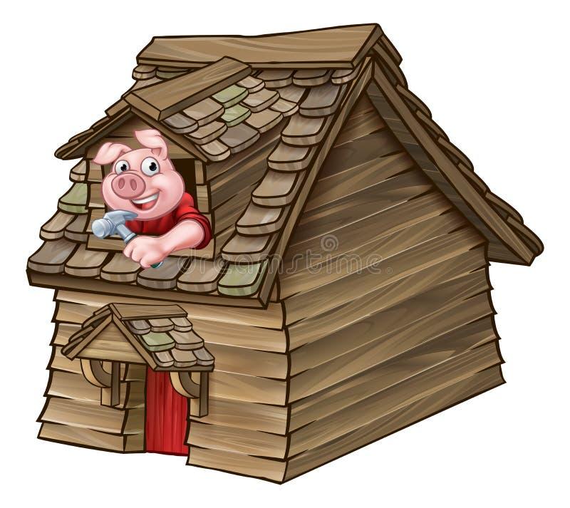 Casa de madera del cuento de hadas de tres pequeña cerdos ilustración del vector