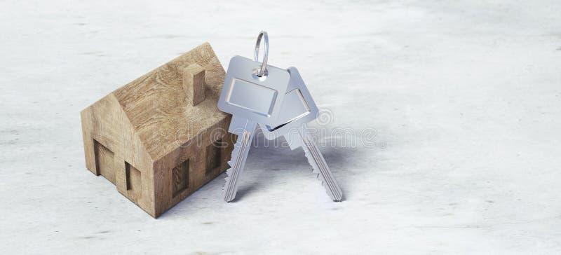 Casa de madera del juguete con las llaves de plata ilustración del vector