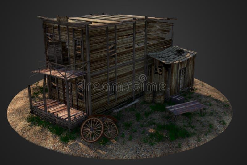 Casa de madera del oeste vieja imagenes de archivo