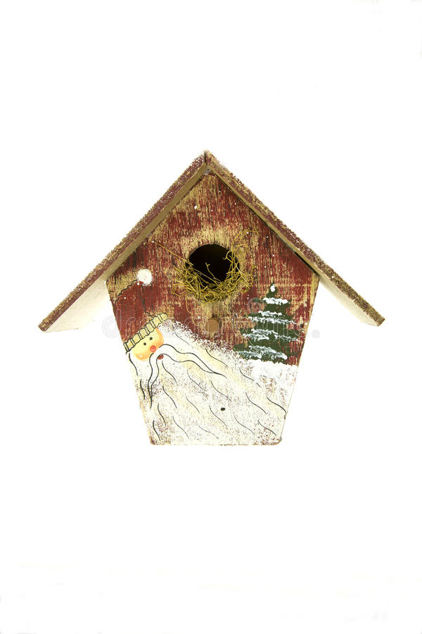 Casa de madera del pájaro de la Navidad fotos de archivo