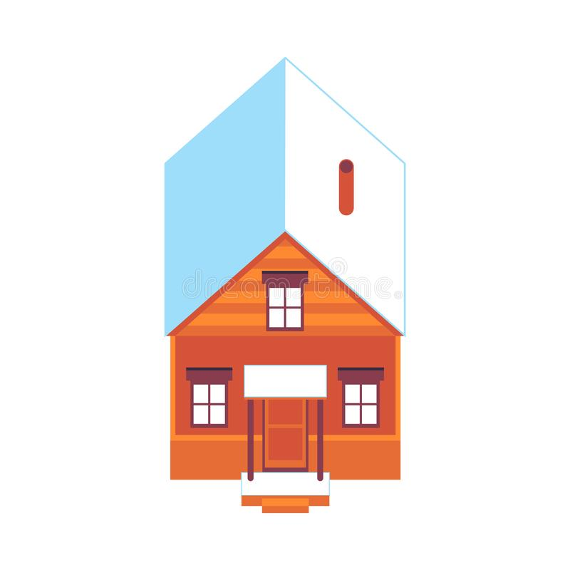 Casa de madera del vector en el icono nevoso del tejado del invierno ilustración del vector