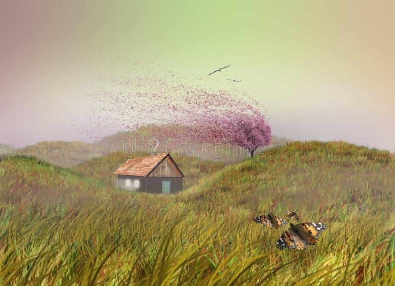 Casa de madera en campo de hierba imagen de archivo