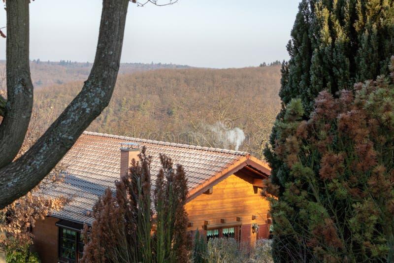 Casa de madera en el bosque en Alemania fotos de archivo