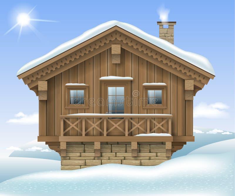 Casa de madera en las montañas del invierno ilustración del vector