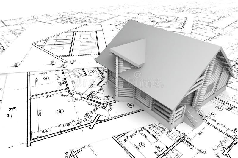 Casa de madera en los gráficos stock de ilustración