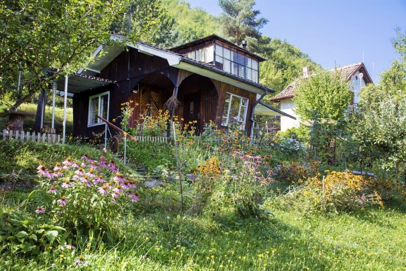 Casa de madera marr n hermosa con el jard n verde grande for Casa de jardin de madera