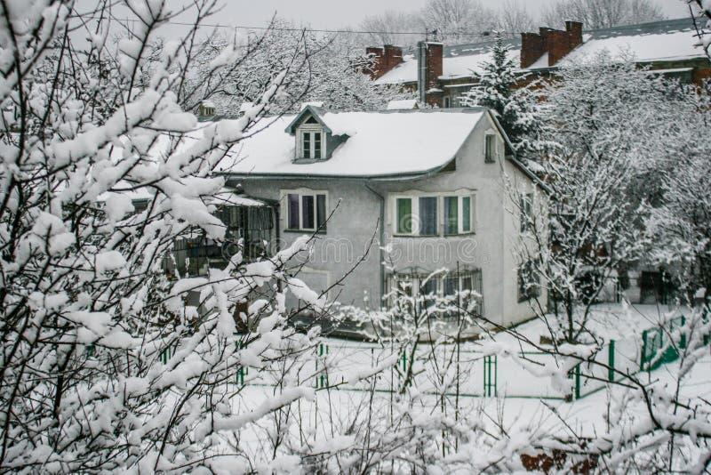 Casa de madera Nevado Invierno Montañas y bosque fotos de archivo