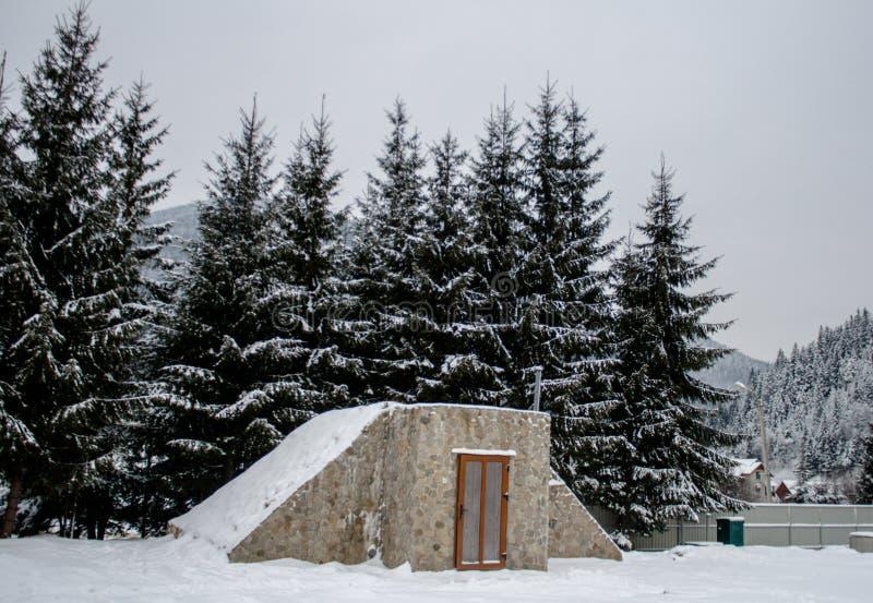 Casa de madera Nevado Invierno Montañas y bosque imagen de archivo libre de regalías