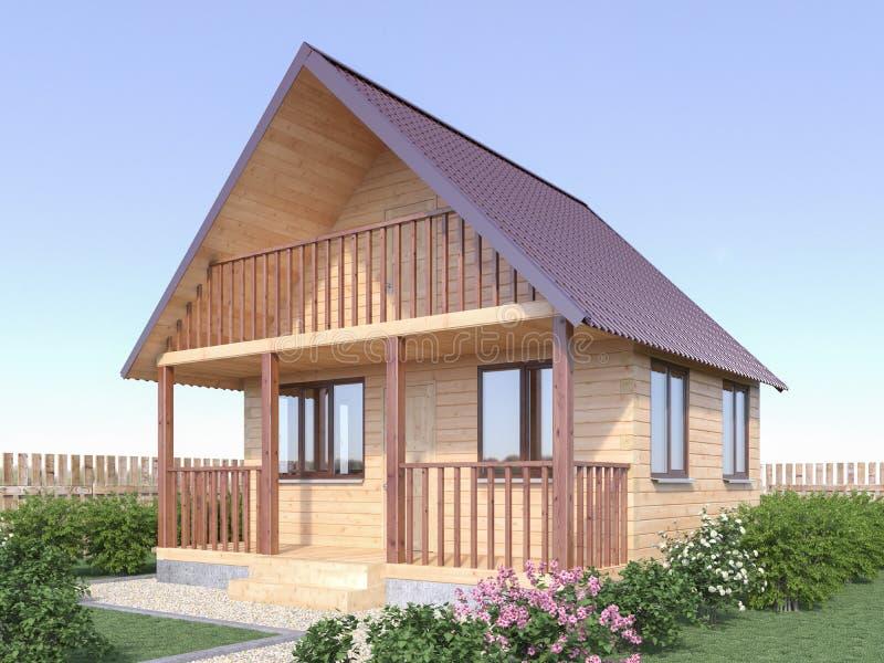 Casa de madera o sauna del pueblo en el exterior del jardín 3d rinden ilustración del vector