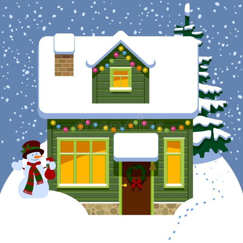 Casa de madera verde de la Navidad en el invierno cubierto por la nieve ilustración del vector
