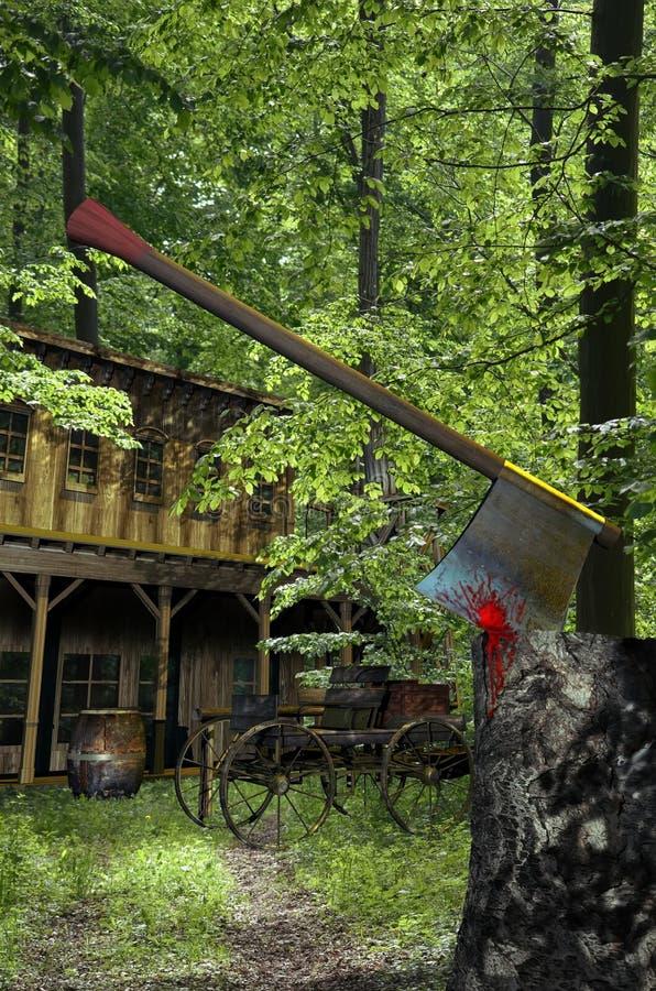Casa en las maderas stock de ilustración