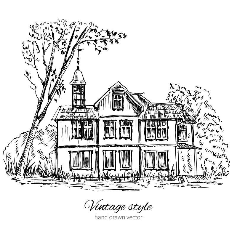 Casa de madera vieja en la madera, Europa, ejemplo del vector aislado en el blanco, bosquejo dibujado mano de la tinta, línea de  stock de ilustración