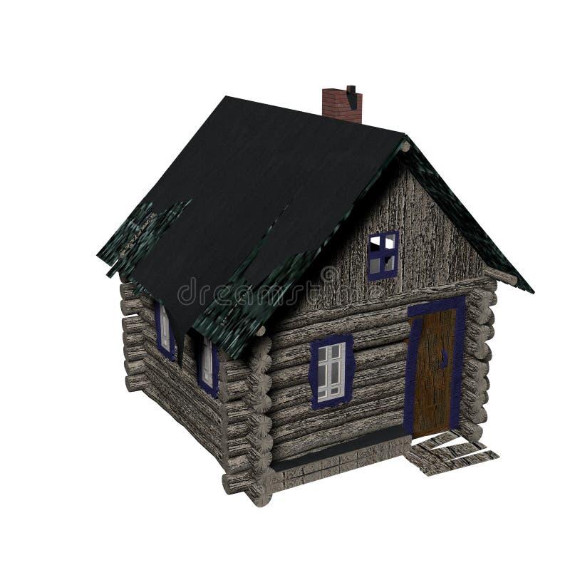 Casa de madera vieja en un fondo blanco. imagen 3D. foto de archivo libre de regalías
