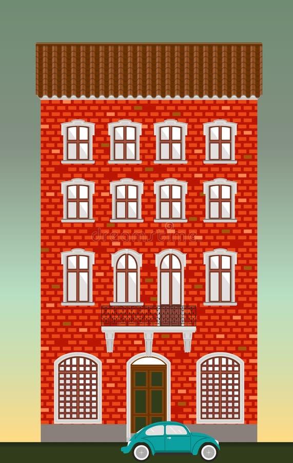 Casa de moradia Arquitetura clássica da cidade Construção histórica do vetor Infraestrutura da cidade Casa velha do tijolo vermel ilustração do vetor
