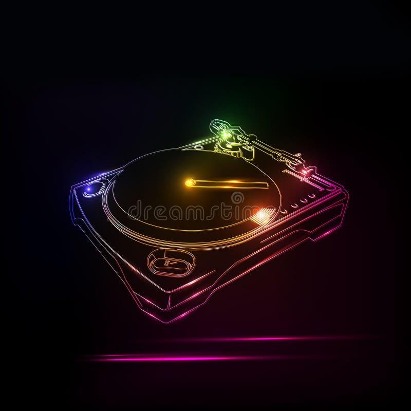 Casa de neón del disco de DJ ilustración del vector