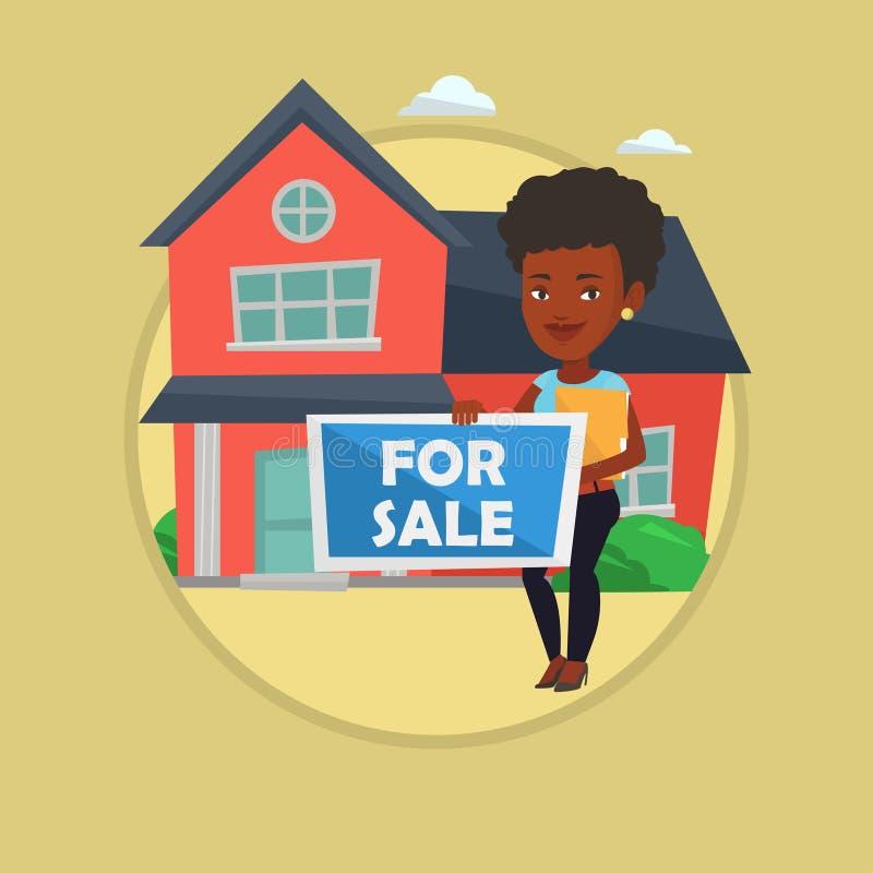 Casa de ofrecimiento del agente inmobiliario femenino joven ilustración del vector