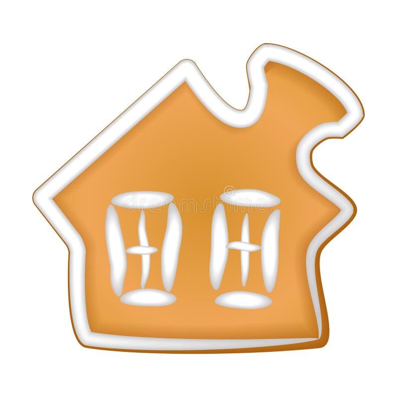 Casa de pão-de-espécie com geada Isolado Natal handmade ilustração royalty free