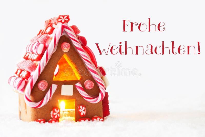 Download A Casa De Pão-de-espécie, Fundo Branco, Frohe Weihnachten Significa O Feliz Natal Foto de Stock - Imagem de marrom, homemade: 80102950