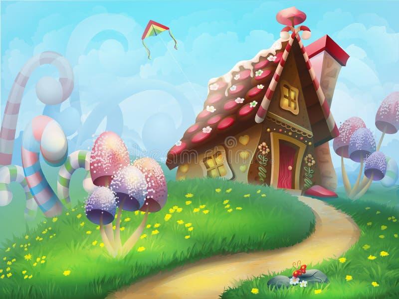 Casa de pão-de-espécie no gramado ilustração do vetor
