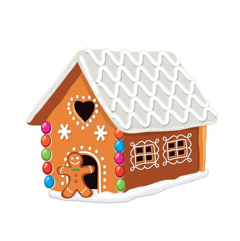 Casa de pão-de-espécie colorida do xmas do vetor ilustração do vetor