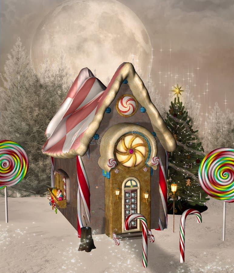 Casa de pão-de-espécie com árvore de Natal em um cenário do inverno ilustração royalty free