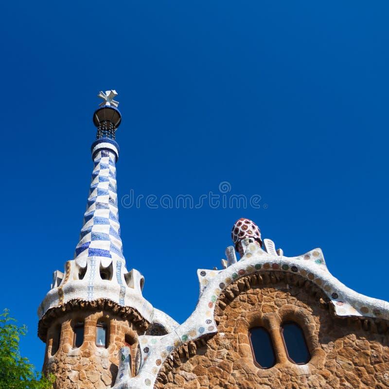 Casa de pan de jengibre de Guell del parque de Barcelona de Gaudi imagen de archivo