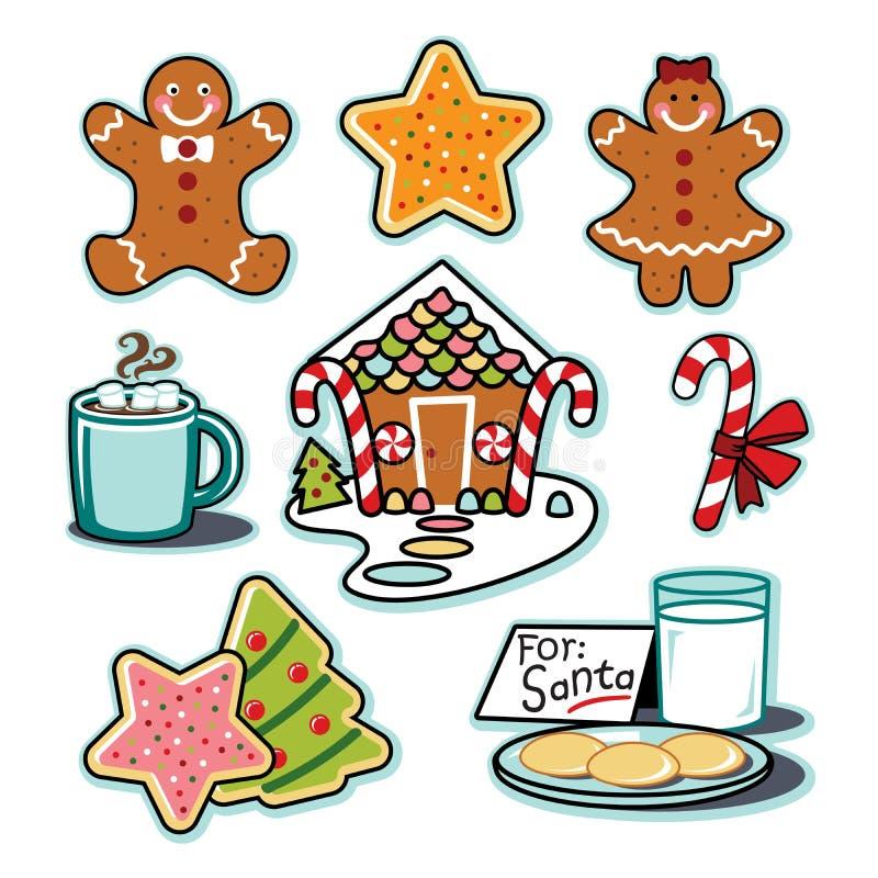 Casa de pan de jengibre, hombre, mujer, chocolate caliente, sistema del ejemplo de santa de las galletas ilustración del vector
