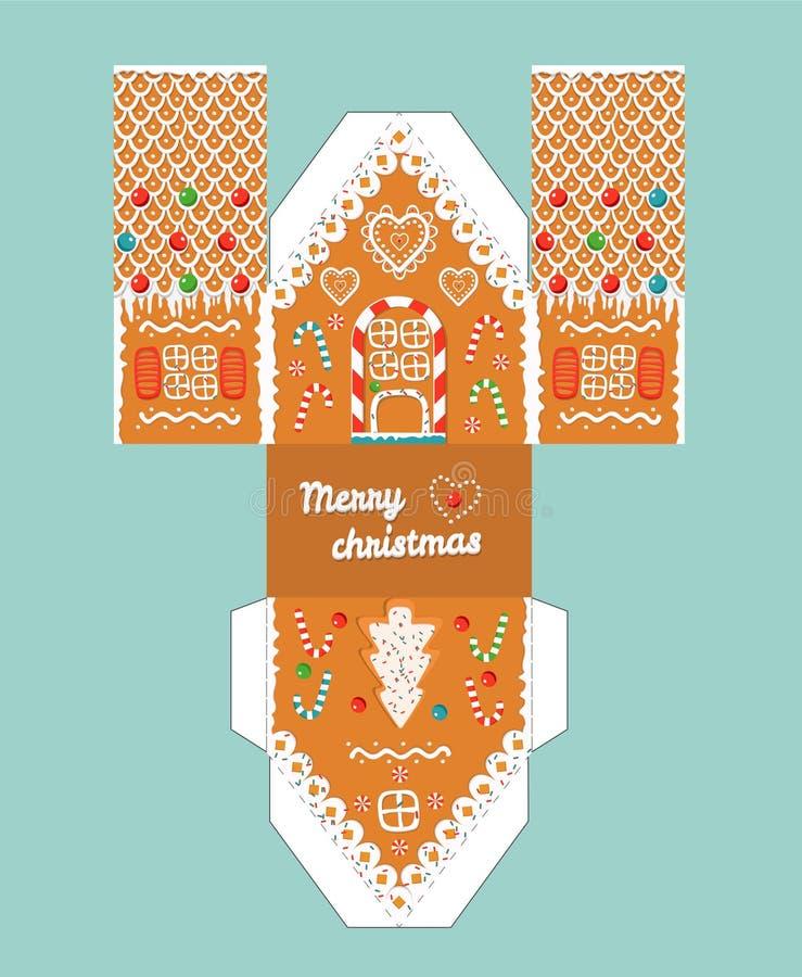 Casa de pan de jengibre imprimible del regalo con los elementos del esmalte de la Navidad Plantilla para la casa de 3 d Arte de p stock de ilustración