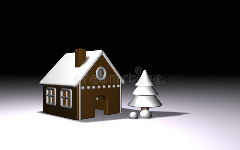 Casa de pan de jengibre y árbol blancos del invierno 3d ilustración del vector