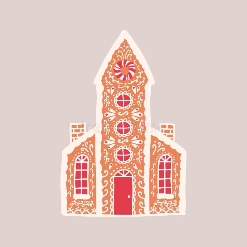 Casa de pan de jengibre deliciosa aislada en fondo ligero Los pasteles aromáticos formaron como el edificio o la iglesia vivo con stock de ilustración