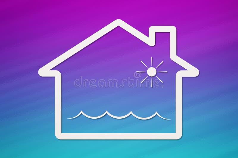 Casa de papel com ondas de água para dentro, imagem conceptual abstrata ilustração do vetor