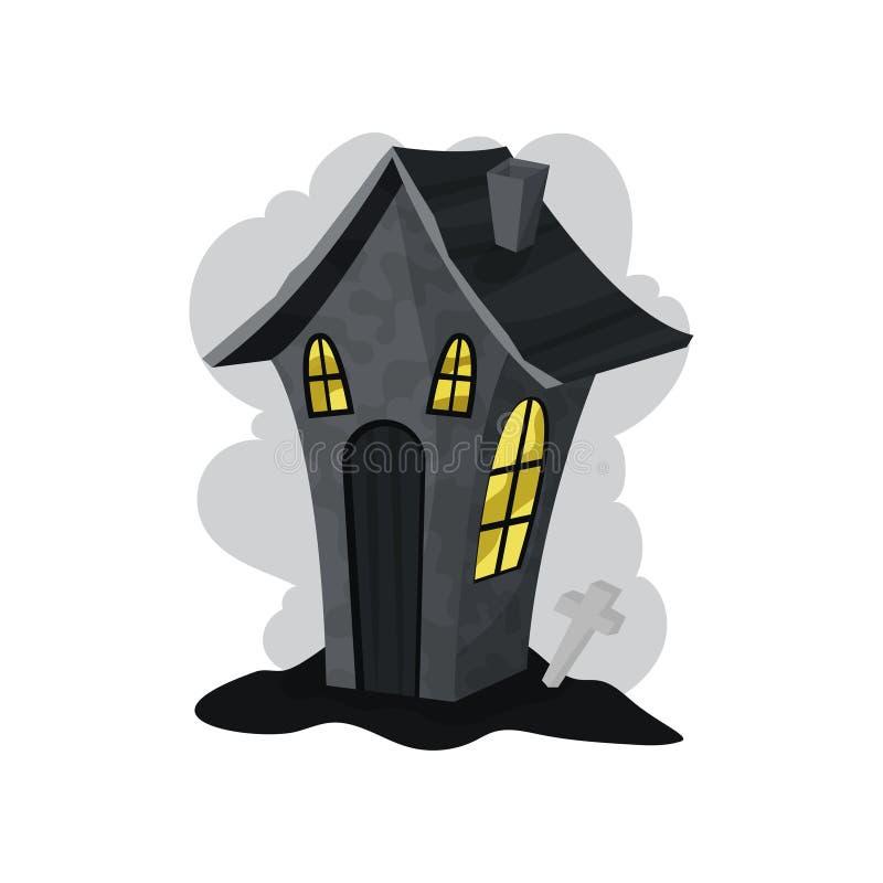 Casa de piedra espeluznante con las luces ámbar en ventanas Un Web de araña grande antes de una luna brillante extraña Elemento p stock de ilustración