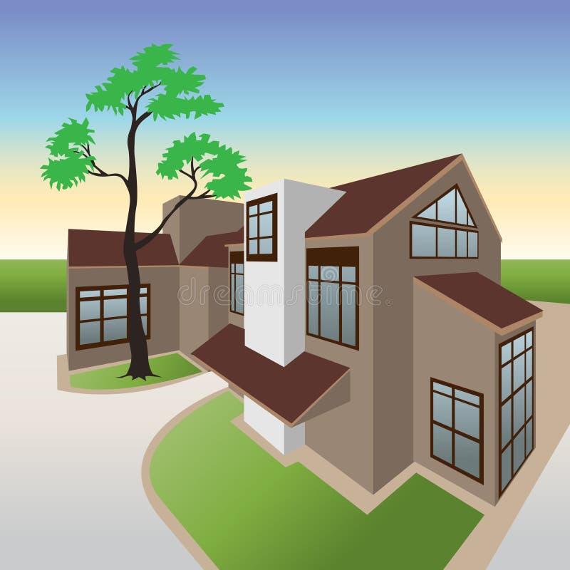 Casa de planta baja ilustración del vector