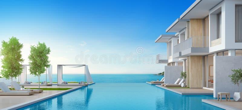 Casa de playa de lujo con la piscina de la opinión del mar y terraza en diseño moderno fotos de archivo libres de regalías